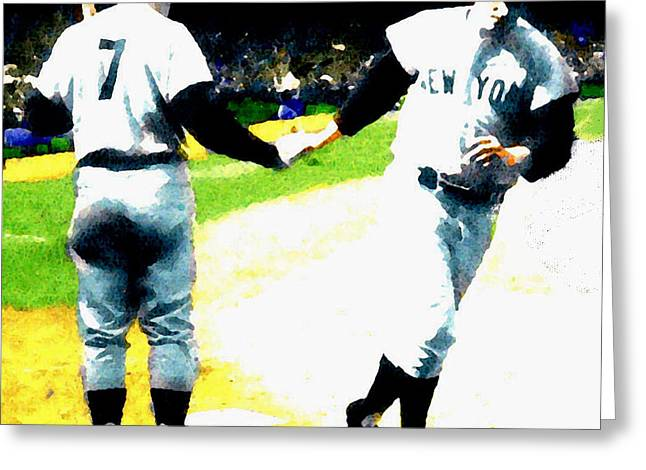 Best Sellers -  - Main Street Greeting Cards - Summer Of The Gods  IV 1961 Mickey Mantle Greeting Card by Iconic Images Art Gallery David Pucciarelli