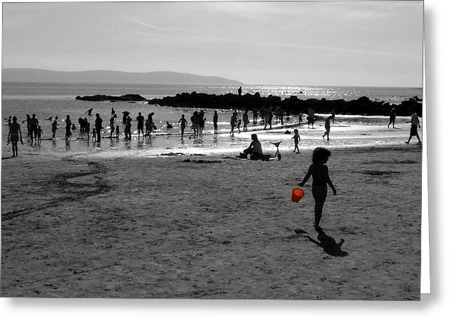 Galway Bay Greeting Cards - Summer on Galway Beach Greeting Card by Patrick Dinneen