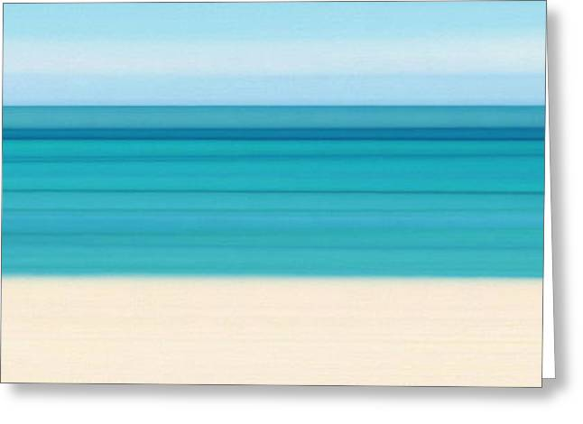 Panoramic Ocean Paintings Greeting Cards - Summer On The Beach Panoramic Greeting Card by Mark Lawrence