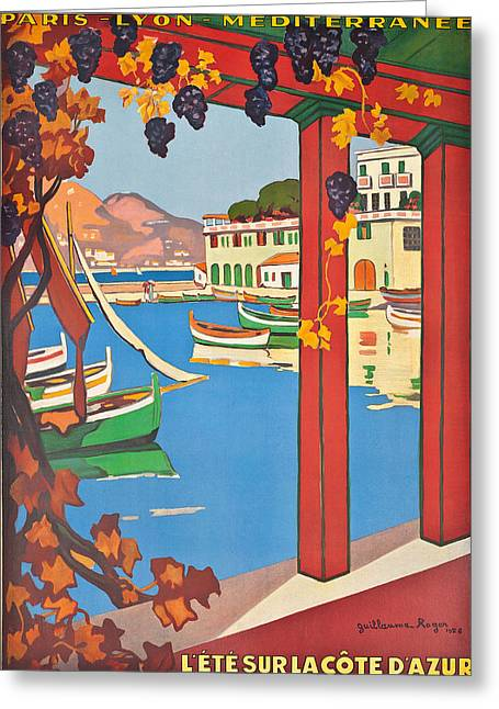 Vintage Boat Greeting Cards - Summer on the Cote d Azur Greeting Card by Guillaume Georges Roger