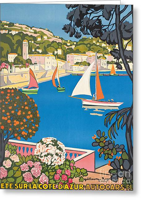 40s Paintings Greeting Cards - Summer on the Cote dAzur Greeting Card by Guillaume Georges Roger
