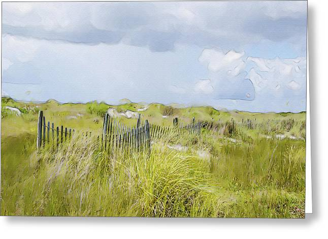 Sand Fences Mixed Media Greeting Cards - Summer on the Dunes Greeting Card by Dave Sandt