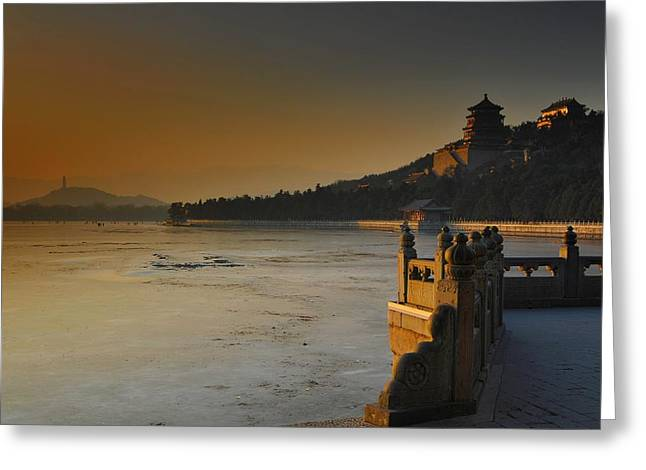 Summer Palace Greeting Cards - Summer Palace in Winter Greeting Card by Aaron S Bedell