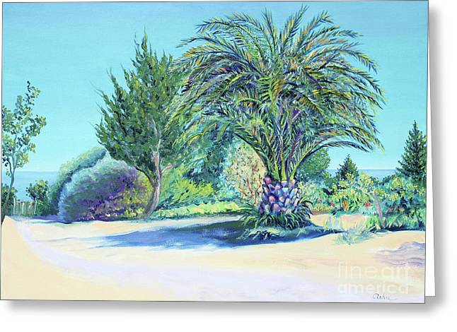 Pacific Ocean Prints Greeting Cards - Summer Palm Tree in Garden by the Sea Greeting Card by Asha Carolyn Young