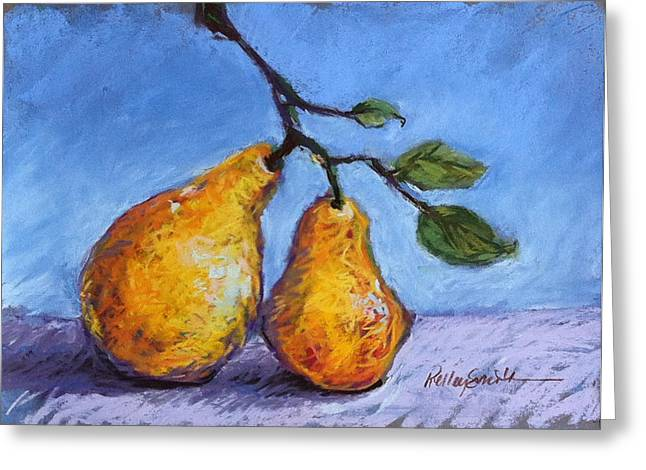 Produce Pastels Greeting Cards - Summer Pears Greeting Card by Kelley Smith