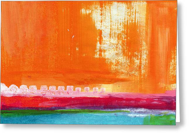 Blue And Orange Abstract Art Greeting Cards - Summer Picnic- colorful abstract art Greeting Card by Linda Woods