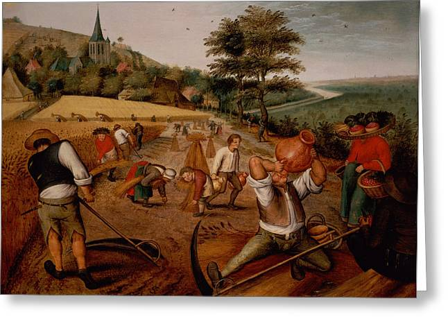 Scythe Greeting Cards - Summer Greeting Card by Pieter the Younger Brueghel