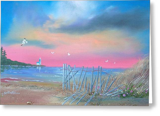 Flying Seagull Paintings Greeting Cards - Summer Place Greeting Card by Seth Wade