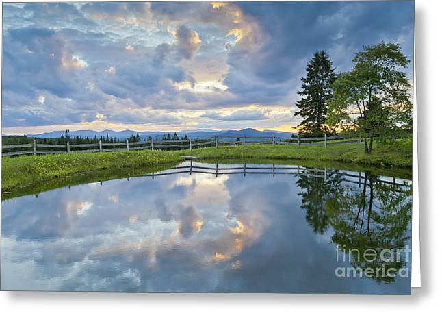 Summer Storm Greeting Cards - Summer Pond Reflection Greeting Card by Alan L Graham
