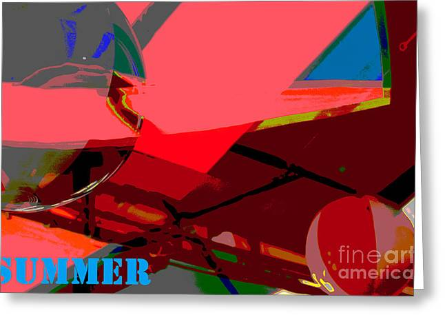 Surfing Art Mixed Media Greeting Cards - Summer Pop Art Abstract Greeting Card by Adspice Studios