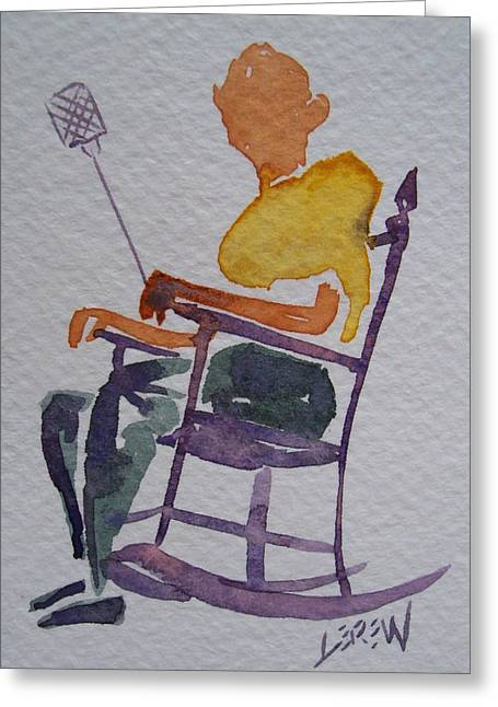 Windsor Chair Greeting Cards - Summer Porch Rocker Greeting Card by Larry Lerew