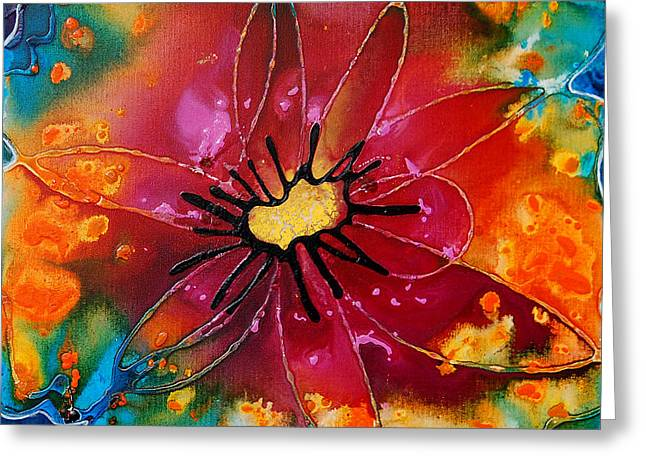 Blue Abstract Art Greeting Cards - Summer Queen Greeting Card by Sharon Cummings