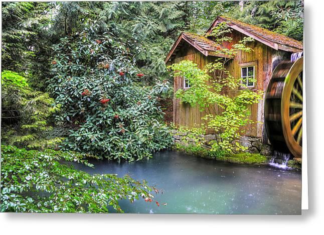 Old Mill Scenes Digital Greeting Cards - Summer rain at the watermill Greeting Card by Eti Reid