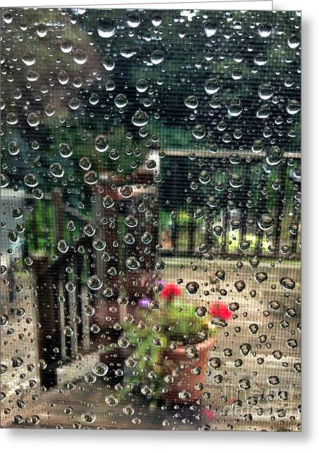 Abstract Rain Greeting Cards - Summer Rain Greeting Card by HD Connelly