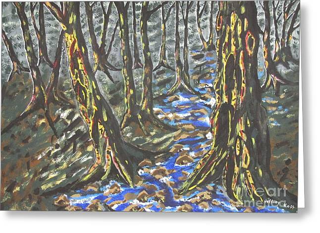 Forest Floor Paintings Greeting Cards - Summer Rain Greeting Card by Jeffrey Koss