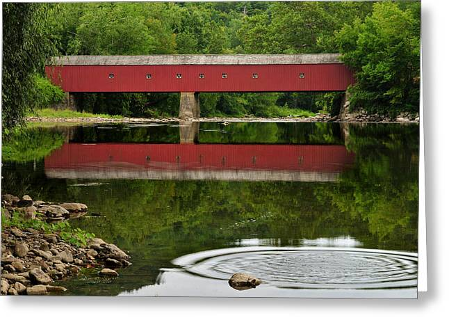 Connecticut Covered Bridge Greeting Cards - Summer Reflections at West Cornwall Covered Bridge Greeting Card by Thomas Schoeller
