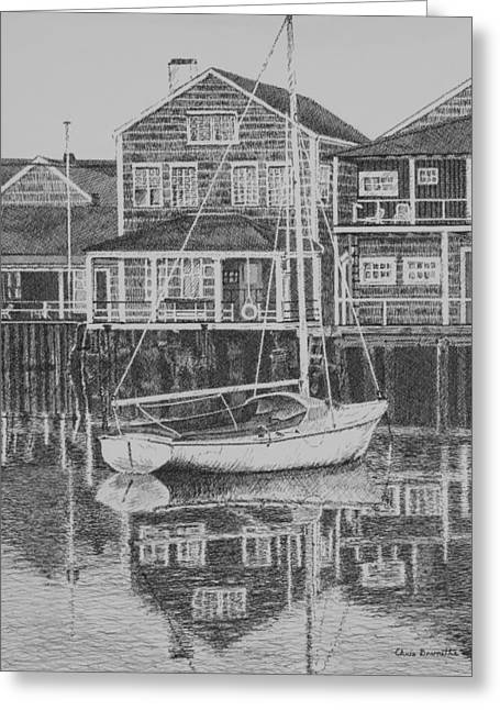 New England Ocean Drawings Greeting Cards - Summer Reflections Greeting Card by Christine Brunette