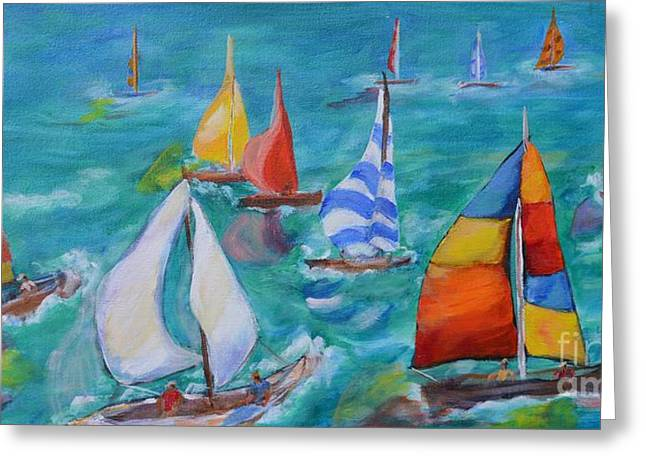 Sailboat Ocean Greeting Cards - Summer Regatta Greeting Card by Lynn Rattray