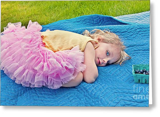 Pink Tutu Skirt Greeting Cards - Summer Rest with Blueberries Greeting Card by Valerie Garner