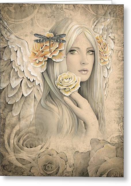 Angel Mixed Media Greeting Cards - Summer Rose Greeting Card by Jessica Galbreth