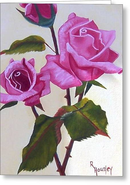 Stretched Cotton Canvas Greeting Cards - Summer Roses  Greeting Card by Ruth  Housley