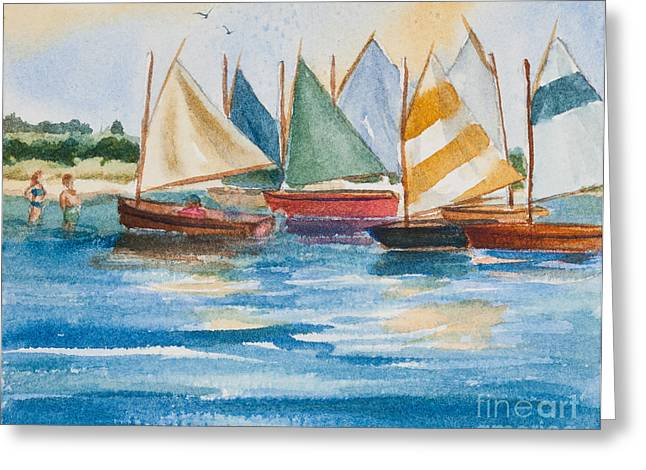 Cat Boat Greeting Cards - Summer Sail Greeting Card by Michelle Wiarda
