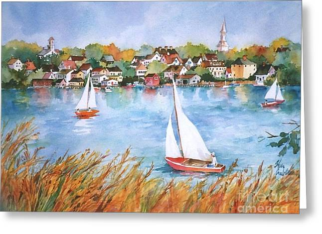 New England Village Greeting Cards - Summer Sails Greeting Card by Sherri Crabtree