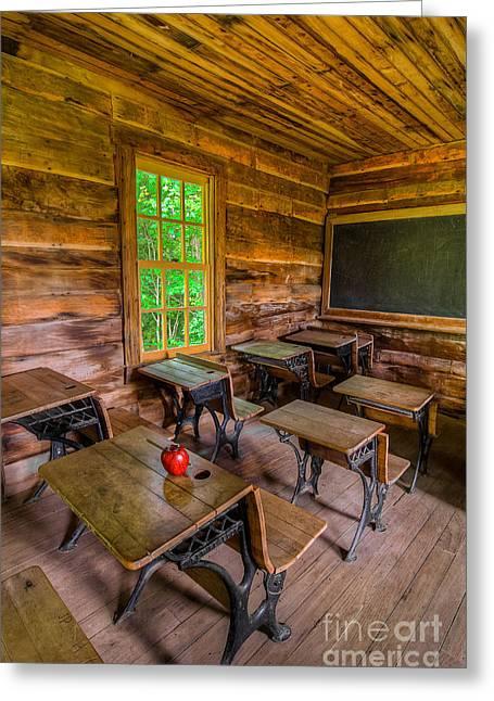 Log Cabin Art Greeting Cards - Summer school Greeting Card by Anthony Heflin