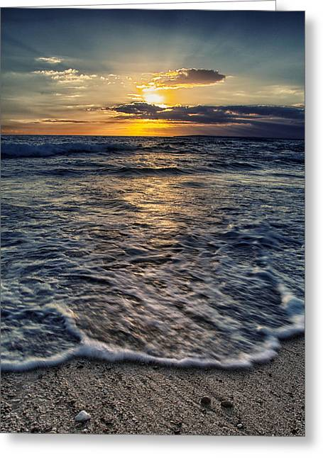 Grey Background Greeting Cards - Summer Sea Greeting Card by Stylianos Kleanthous