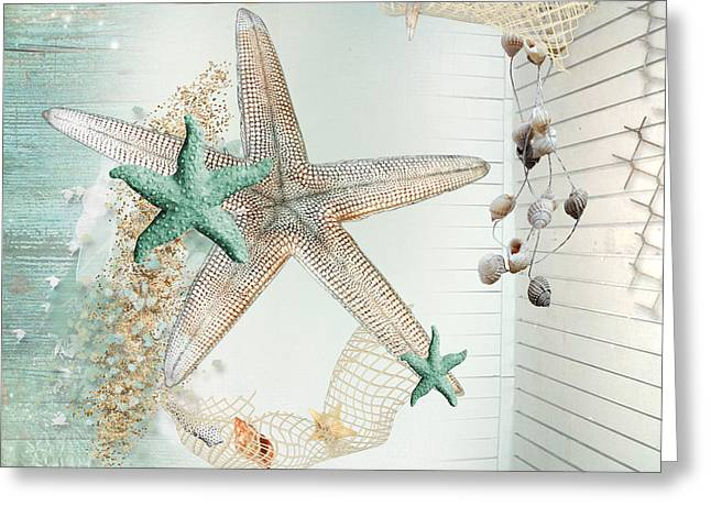 Sea Life Digital Greeting Cards - Summer Sea Treasures  Greeting Card by Debra  Miller