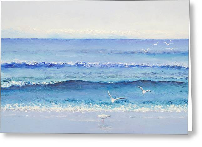 Beach Cottage Style Greeting Cards - Summer Seascape Greeting Card by Jan Matson