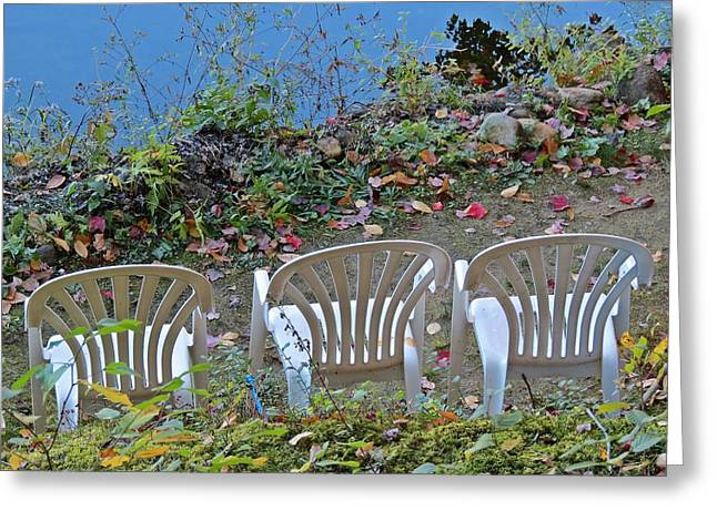Lawn Chair Greeting Cards - Summer Seating in Fall Greeting Card by MTBobbins Photography