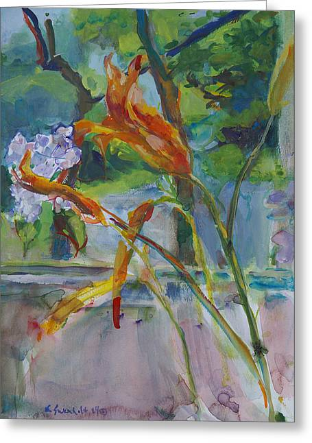 Interior Still Life Paintings Greeting Cards - Summer Sets  Greeting Card by Karen Swenholt