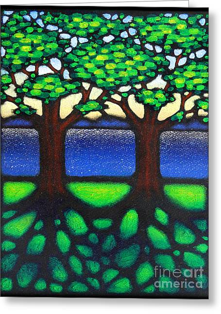 Tree Roots Paintings Greeting Cards - Summer Shore Greeting Card by David Azzarello