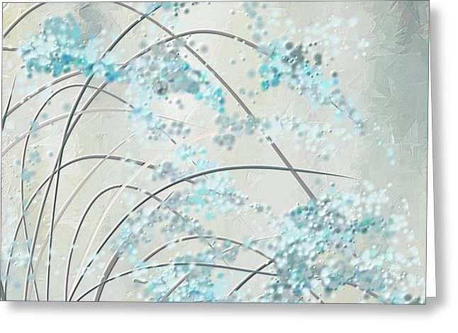 Blue Abstracts Greeting Cards - Summer Showers Greeting Card by Lourry Legarde