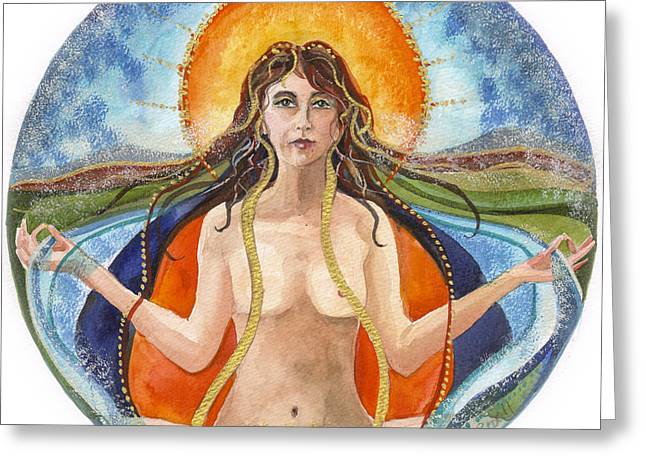 Gaia Paintings Greeting Cards - Summer Solstice Greeting Card by Kate Bedell