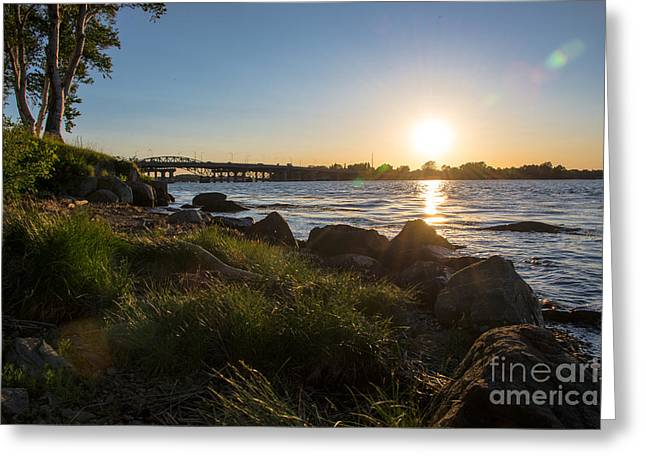 New England Ocean Greeting Cards - Summer Solstice on the Piscataqua River Greeting Card by Mary Koenig Godfrey