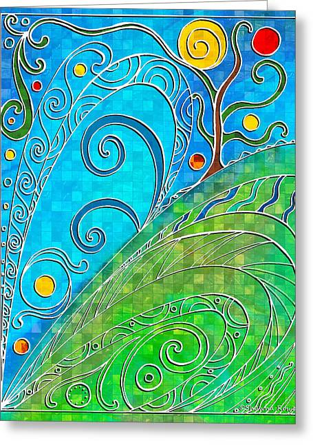 Surreal Landscape Drawings Greeting Cards - Summer Solstice Greeting Card by Shawna  Rowe