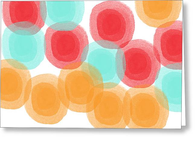 Shapes Mixed Media Greeting Cards - Summer Sorbet- abstract painting Greeting Card by Linda Woods