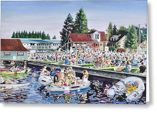 Buildings In The Harbor Greeting Cards - Summer Sound in the Park Greeting Card by Gertrudes  Asplund