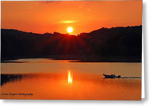 Star Burst Prints Greeting Cards - Summer Star Burst Sunset with Signature Greeting Card by Lorna Rogers Photography