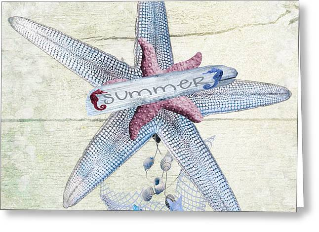 Sea Horse Greeting Cards - Summer Starfish Greeting Card by Debra  Miller
