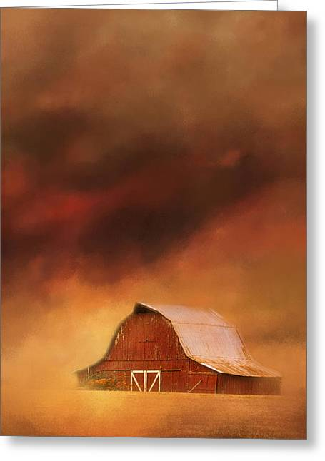 Autumn In The Country Greeting Cards - Summer Storm At The Barn Greeting Card by Jai Johnson