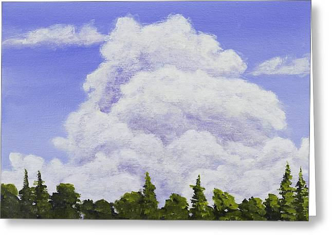 Maine Landscape Paintings Greeting Cards - Summer Storm Clouds Over Maine Forest Greeting Card by Keith Webber Jr