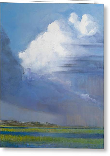 Best Sellers -  - Summer Storm Greeting Cards - Summer Storm Over Carrot Island Greeting Card by Donna Lee Nyzio