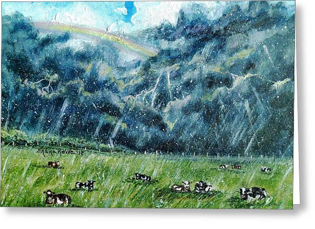 Maine Farms Paintings Greeting Cards - Summer Storm Greeting Card by Shana Rowe