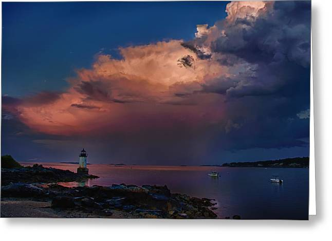 Scenic New England Greeting Cards - Summer storm squall passes Fort Pickering Lighthouse Greeting Card by Jeff Folger