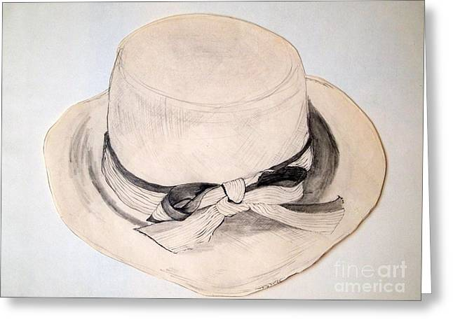 Straw Hat Drawings Greeting Cards - Summer Straw Greeting Card by Nancy Kane Chapman