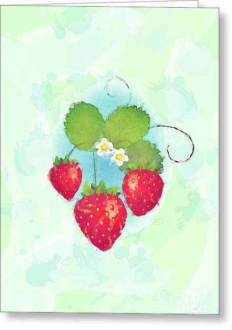 Harvest Art Greeting Cards - Summer strawberries Greeting Card by Jane Rix
