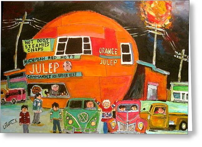 Orange Julep Greeting Cards - Summer Sun at the OJ Greeting Card by Michael Litvack